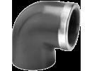 Koleno 90° 1 x vývod - závit vnitřní + kovový kruh, 1 x vývod - lepení