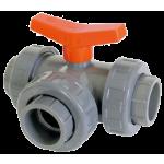Ventil kulový trojcestný PVC